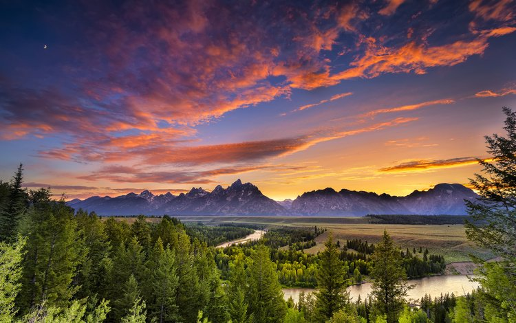 небо, гранд -титон национальный парк, облака, река, горы, закат, пейзаж, сша, национальный парк, the sky, grand teton national park, clouds, river, mountains, sunset, landscape, usa, national park
