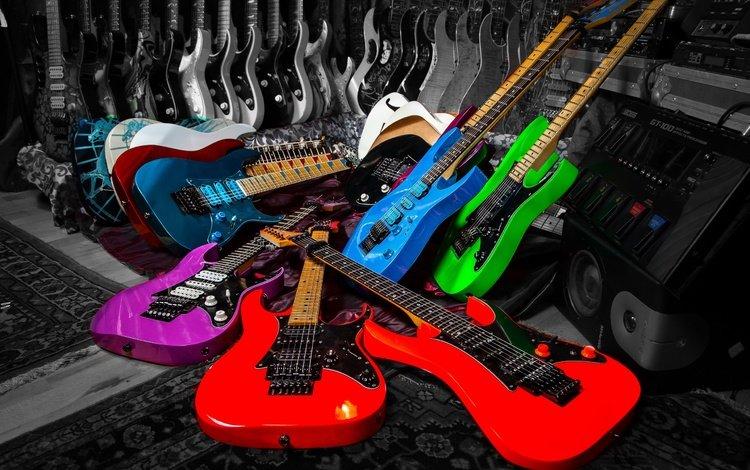 музыка, разноцветные, струны, гитары, музыкальный инструмент, music, colorful, strings, guitar, musical instrument