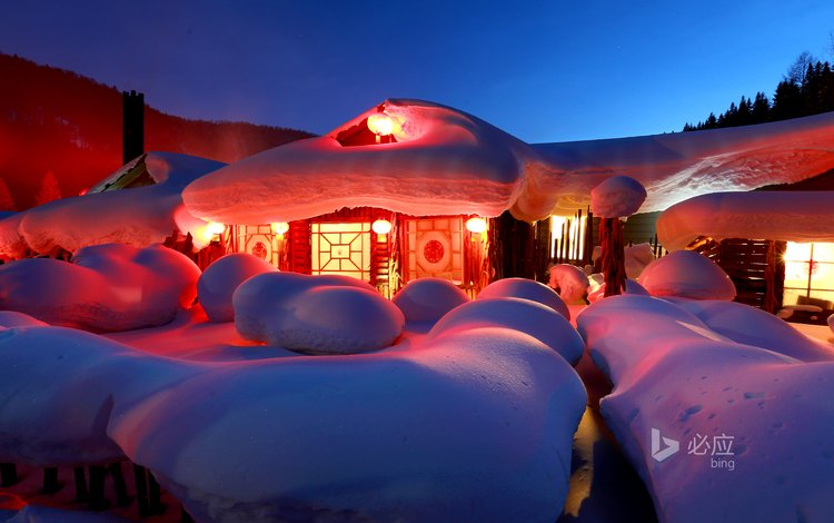 ночь, огни, снег, зима, деревня, домик, ферма, bing, night, lights, snow, winter, village, house, farm