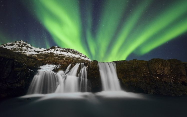 река, природа, водопад, северное сияние, исландия, etienne ruff, river, nature, waterfall, northern lights, iceland