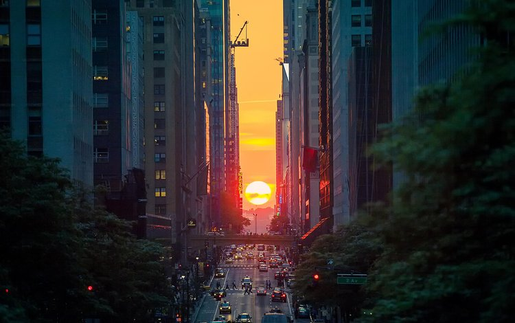 the evening, the sun, sunset, the city, megapolis, home, street, usa, new york