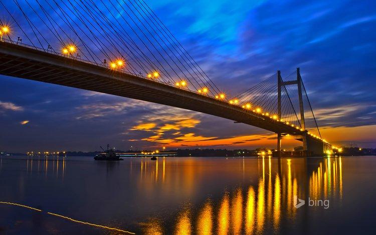 night, lights, the evening, river, bridge, the city, glow, india, west bengal, kolkata, hooghly bridge, ganges