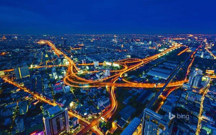 night, lights, the city, thailand, bangkok