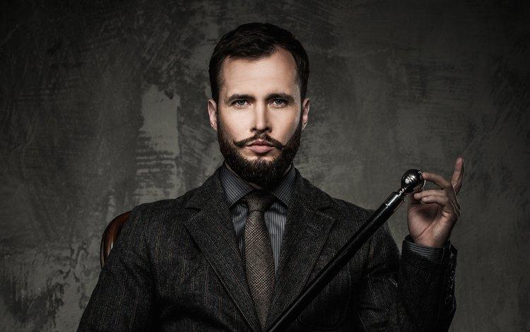 усы, взгляд, лицо, мужчина, галстук, трость, борода, брюнет, mustache, look, face, male, tie, cane, beard, brunette