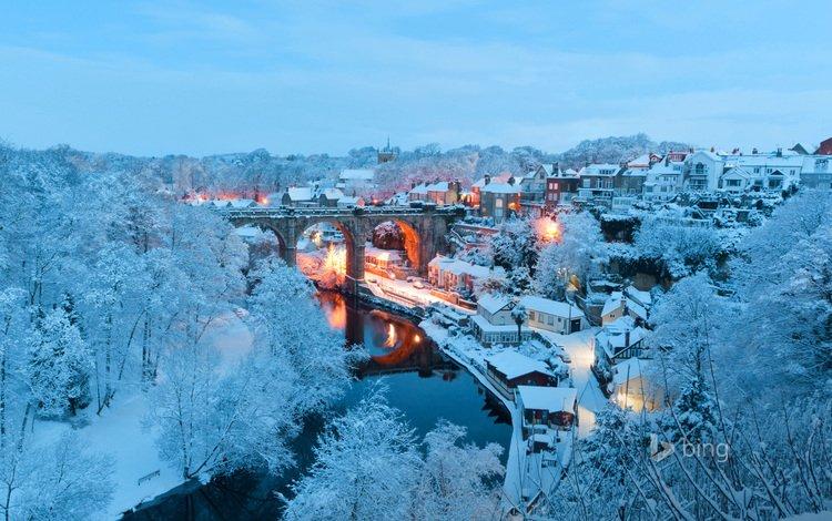 зима, мост, город, англия, северный йоркшир, нерсборо, харрогейт, winter, bridge, the city, england, north yorkshire, knaresborough, harrogate