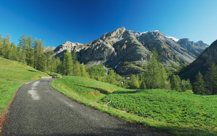 небо, дорога, деревья, горы, природа, лес, the sky, road, trees, mountains, nature, forest