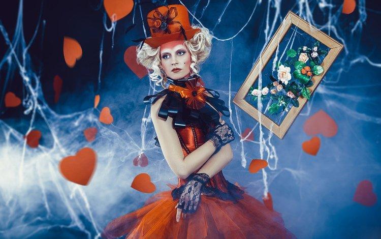 цветы, паутина, девушка, сердечки, картина, рамка, платье, шляпа, блондинка, банты, креатив, митенки, кудри, наряд, flowers, web, girl, hearts, picture, frame, dress, hat, blonde, bows, creative, mitts, curls, outfit