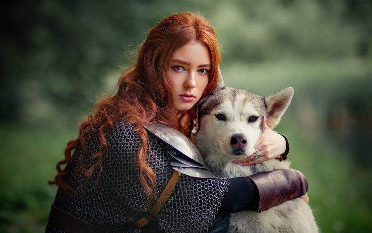 девушка, рыжеволосая, мордочка, ольга бойко, взгляд, собака, модель, лицо, хаски, доспехи, girl, redhead, muzzle, olga boyko, look, dog, model, face, husky, armor