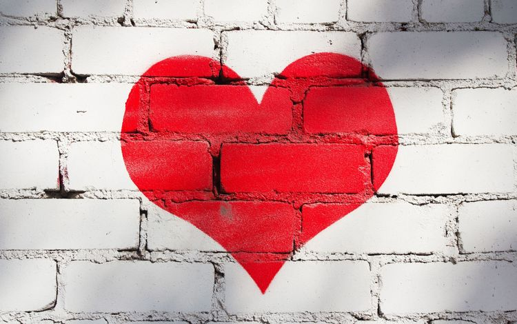 heart, love, bricks, brick wall