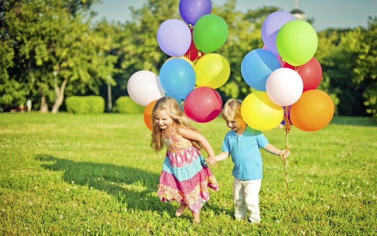 grass, trees, summer, children, girl, boy, balloons, maria pavlova