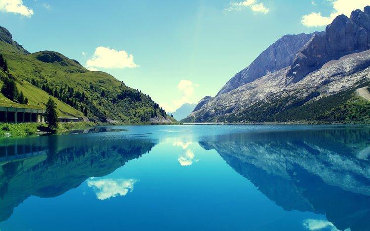 небо, облака, озеро, горы, отражение, италия, marmoleda, the sky, clouds, lake, mountains, reflection, italy
