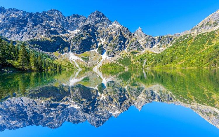 деревья, польша, вода, татры, озеро, tatra mountains, горы, скалы, солнце, камни, отражение, trees, poland, water, tatras, lake, mountains, rocks, the sun, stones, reflection