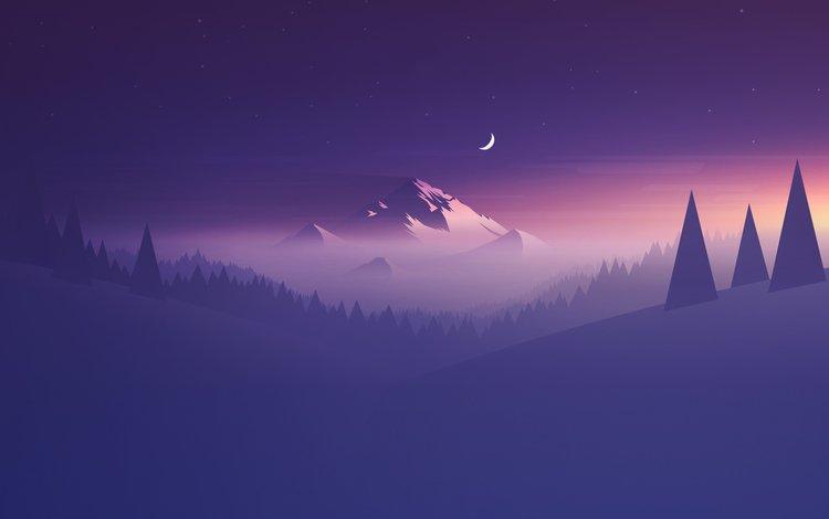горы, холмы, абстракция, гора, луна, фиолетовый, минимализм, mountains, hills, abstraction, mountain, the moon, purple, minimalism