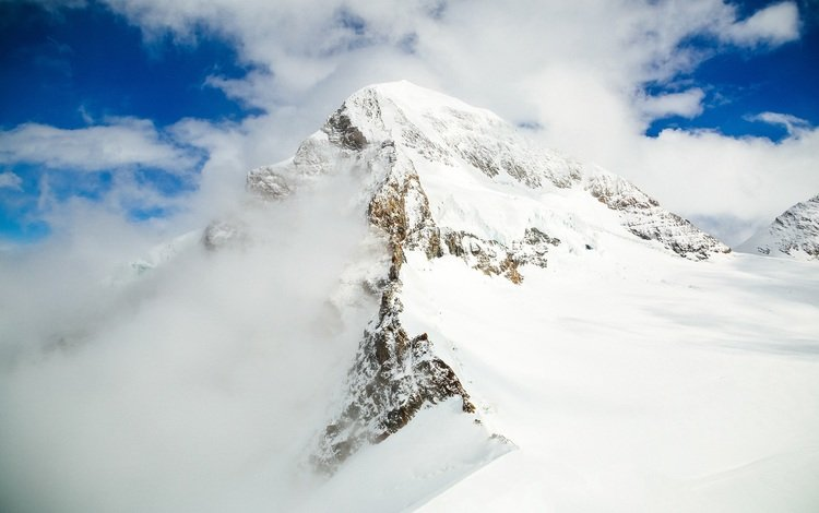 небо, облака, горы, снег, пейзаж, вершина, the sky, clouds, mountains, snow, landscape, top