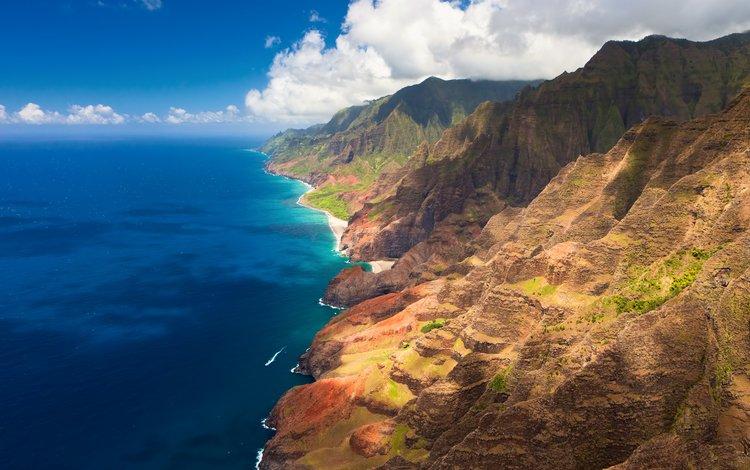 небо, мыс, облака, гавайи, берег, фьорд, пейзаж, море, скала, побережье, залив, the sky, cape, clouds, hawaii, shore, the fjord, landscape, sea, rock, coast, bay