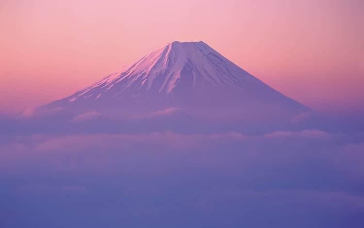 небо, туман, облака, горизонт, горы, рассвет, восход, гора, солнце, япония, закат, фудзи, пейзаж, гора фудзияма, утро, the sky, fog, clouds, horizon, mountains, dawn, sunrise, mountain, the sun, japan, sunset, fuji, landscape, mount fuji, morning