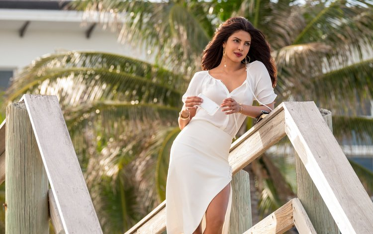 girl, look, palm trees, model, hair, lips, face, actress, makeup, in white, bollywood, priyanka chopra
