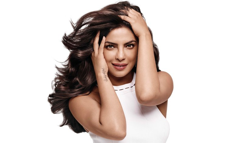 girl, portrait, look, hair, face, actress, makeup, white dress, bollywood, priyanka chopra