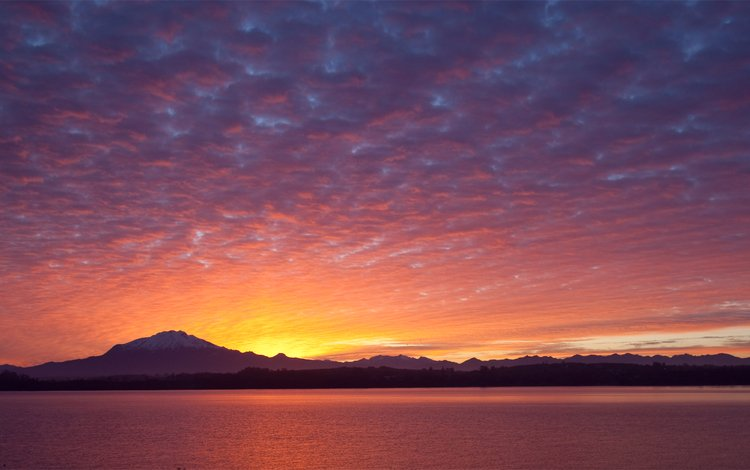 the sky, clouds, the evening, lake, mountains, shore, sunset, chile, puerto varas, puerto varras