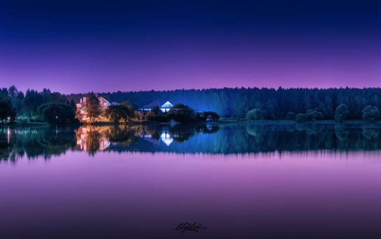 the sky, trees, lake, forest, reflection, home