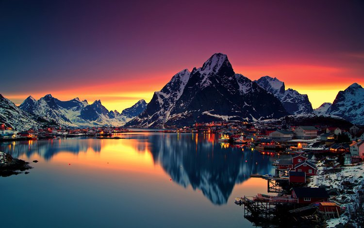the sky, night, lights, lake, mountains, snow, winter, reflection, home, norway, the lofoten islands, the rhine