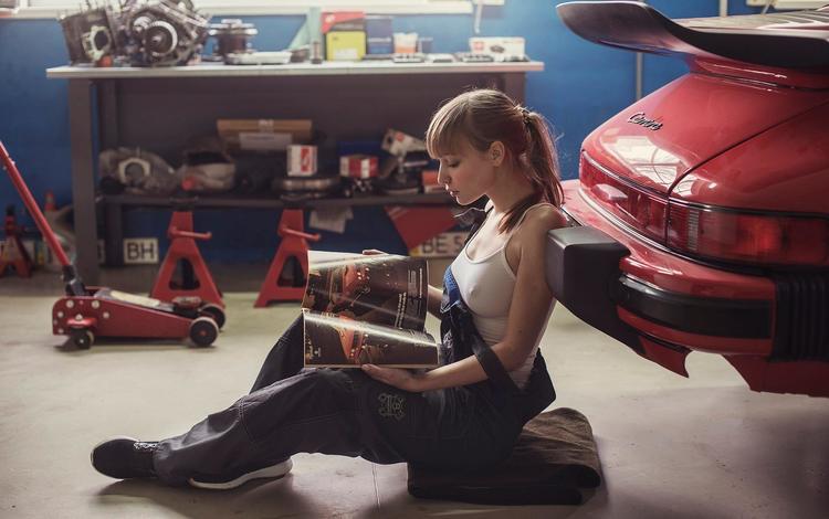 girl, pose, look, auto, model, profile, hair, face, journal, garage, david dubnitskiy