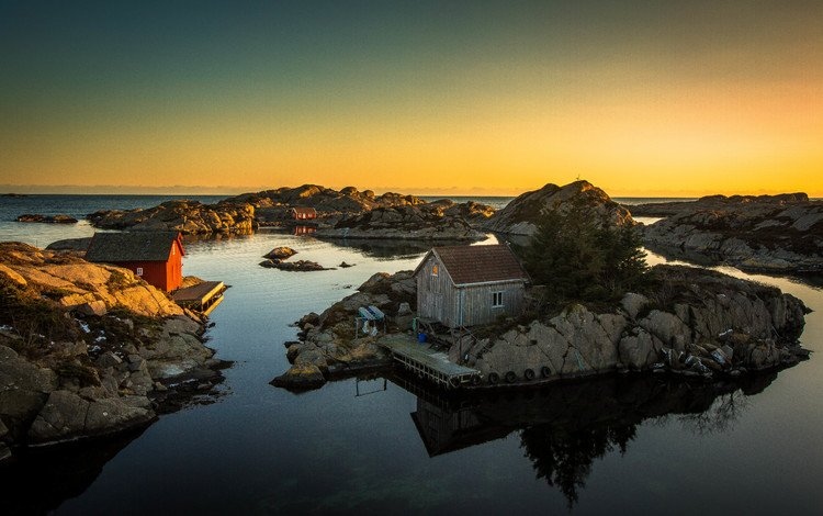 rocks, nature, sunset, sea, coast, home, norway