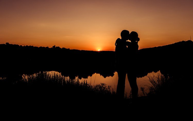 sunset, romance, pair, kiss