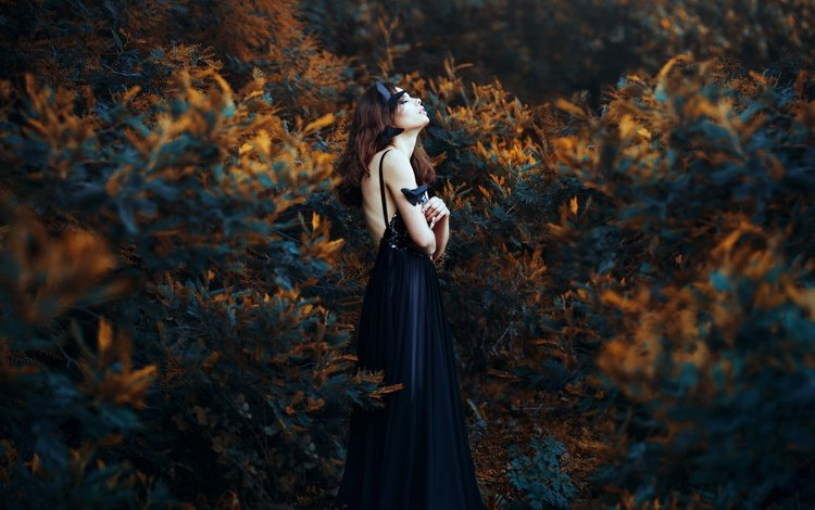 nature, plants, girl, model, profile, black dress, closed eyes, ronny garcia, when my black soul leaves, jose maria weigel