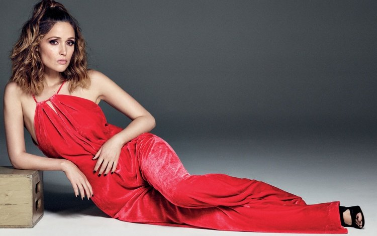 girl, look, hair, face, actress, in red, rose byrne, bare shoulders
