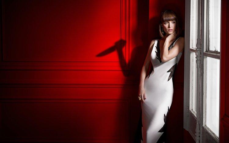 girl, dress, look, shadow, hair, face, window, rose byrne