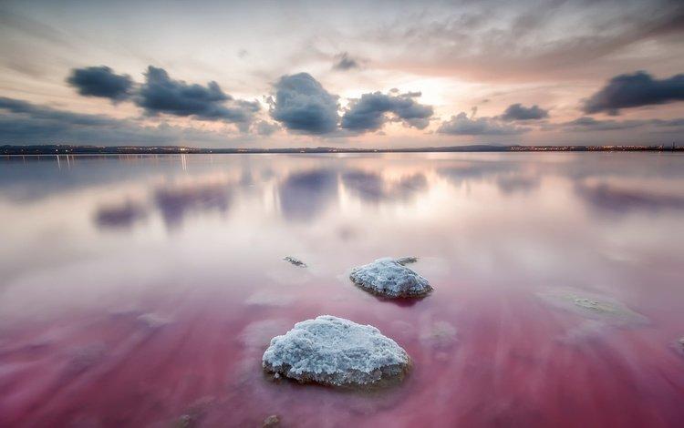 небо, облака, озеро, камни, отражение, горизонт, испания, валенсия, the sky, clouds, lake, stones, reflection, horizon, spain, valencia
