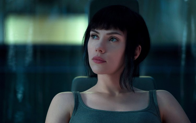 girl, brunette, look, the film, hair, face, actress, ghost in the shell, scarlett johansson