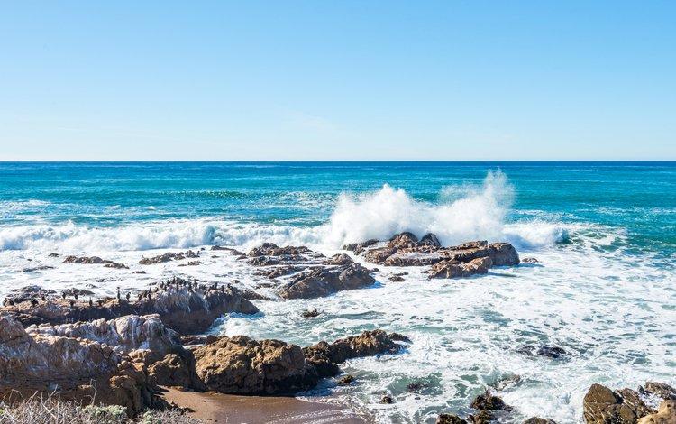 небо, камни, берег, волны, море, пляж, горизонт, the sky, stones, shore, wave, sea, beach, horizon