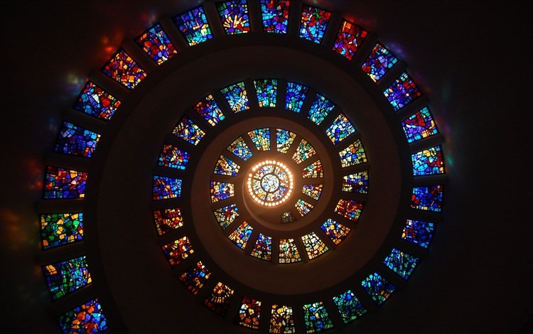 спираль, архитектура, потолок, купол, витраж, spiral, architecture, the ceiling, the dome, stained glass