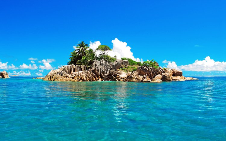 небо, сейшелы, облака, сейшельские острова, камни, море, пальмы, океан, остров, тропики, the sky, seychelles, clouds, stones, sea, palm trees, the ocean, island, tropics