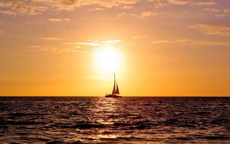 water, sunset, sea, horizon, sailboat, the ocean, yacht, sails