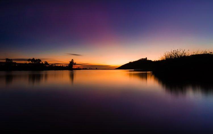 небо, деревья, озеро, природа, закат, пейзаж, сумерки, the sky, trees, lake, nature, sunset, landscape, twilight