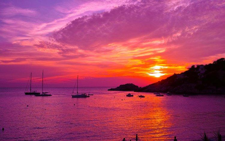 небо, облака, скалы, природа, закат, море, яхты, побережье, the sky, clouds, rocks, nature, sunset, sea, yachts, coast