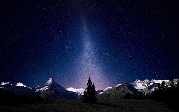 небо, альпы, ночь, деревья, горы, снег, звезды, швейцария, млечный путь, the sky, alps, night, trees, mountains, snow, stars, switzerland, the milky way