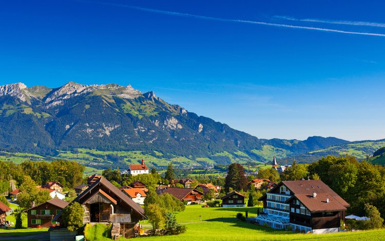 the sky, mountains, nature, village, switzerland, town, alps