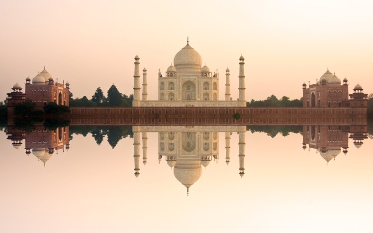 река, отражение, архитектура, мечеть, индия, тадж-махал, агра, джамна, river, reflection, architecture, mosque, india, taj mahal, agra, yamuna