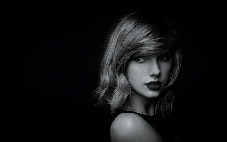 девушка, тейлор свифт, портрет, взгляд, чёрно-белое, волосы, губы, лицо, певица, girl, taylor swift, portrait, look, black and white, hair, lips, face, singer