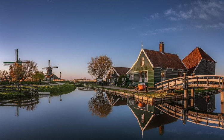 water, reflection, village, channel, mill, home, netherlands, holland, herman van den berge, zaanse schans