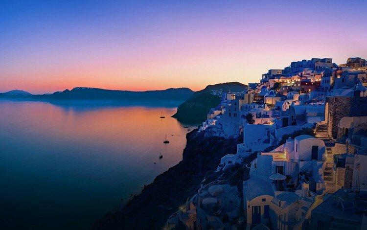 the city, island, greece, santorini