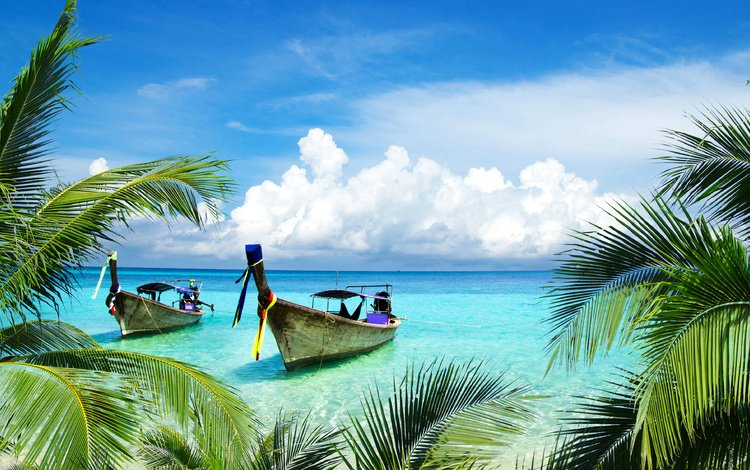 the sky, clouds, sea, beach, boats, palm trees, tropics