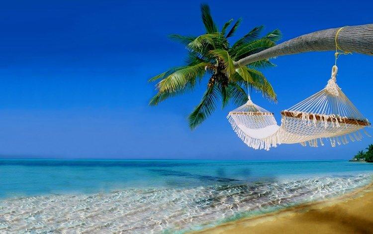 небо, гавайи, море, песок, пляж, побережье, пальма, гамак, тропики, the sky, hawaii, sea, sand, beach, coast, palma, hammock, tropics