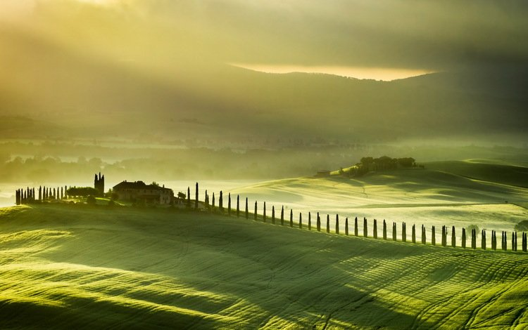 mountains, hills, landscape, garden, house, italy, vineyard, tuscany