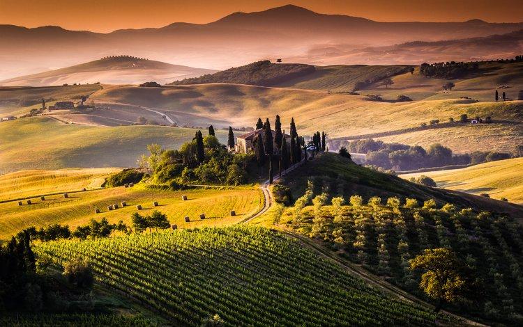 mountains, hills, landscape, garden, house, italy, vineyard, tuscany