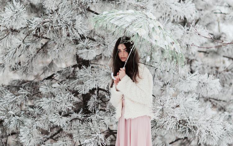 needles, girl, brunette, branches, frost, look, model, hair, face, umbrella, jovana rikalo